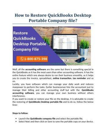 How to Restore QuickBooks Desktop Portable Company file?