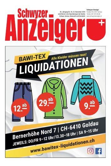 Schwyzer Anzeiger – Woche 47 – 23. November 2018