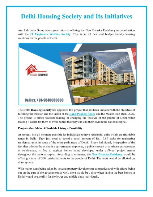 Delhi Housing Society and Its Initiatives