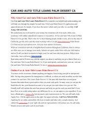 Get Auto Car Title Loans Palm Desert CA | 760-610-0186