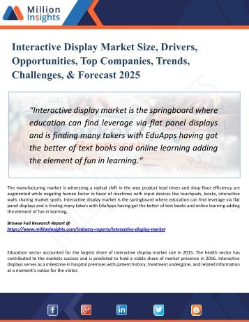 Interactive Display Market Growth Challenges, Key Vendors, Drivers, Technical Analysis and Trends by Forecast to 2025
