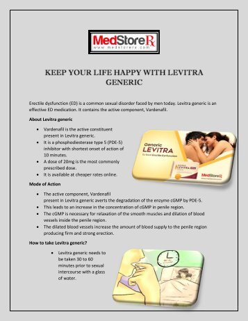 Keep your life happy with Levitra generic