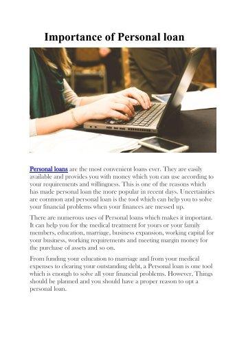 Importance of Personal loan