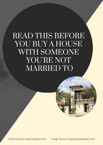 Read This Before You Buy A House With Someone You're Not Married To