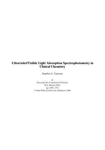 UV/Vis Light Absorption in Clinical Chemistry - PerkinElmer