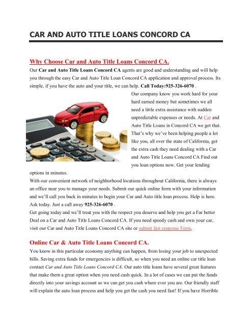 Get Auto Car Title Loans Concord CA   925-326-6070