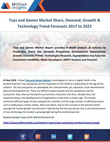 Toys and Games Market Share, Demand, Growth & Technology Trend Forecasts 2017 to 2022