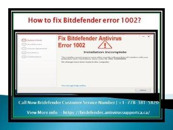 How to fix Bitdefender error 1002?