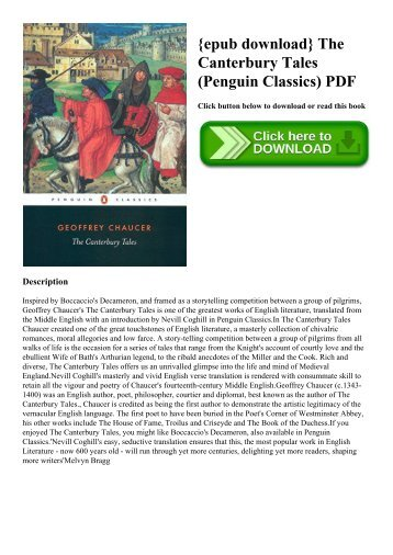 {epub download} The Canterbury Tales (Penguin Classics) PDF