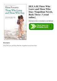 [R.E.A.D] Those Who Leave and Those Who Stay Neapolitan Novels  Book Three 3 {read online}