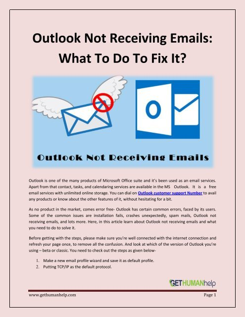 Outlook not receiving emails How to fix -GetHumanHelp