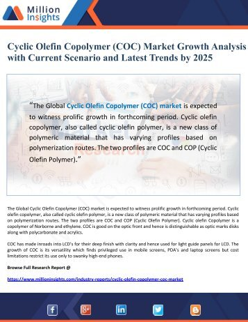 Cyclic Olefin Copolymer (COC) Market Growth Analysis with Current Scenario and Latest Trends by 2025