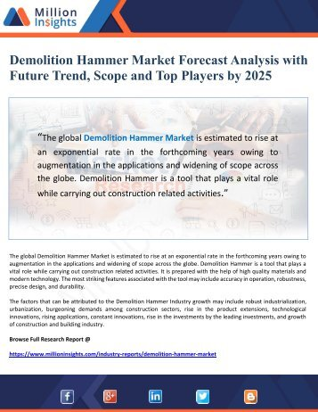 Demolition Hammer Market Forecast Analysis with Future Trend, Scope and Top Players by 2025