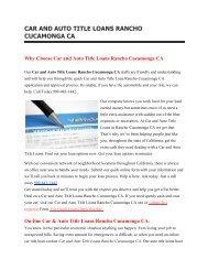 Get Auto Car Title Loans Rancho Cucamonga CA | 909-443-1442