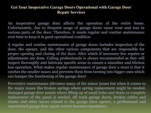 Get Your Inoperative Garage Doors Operational with Garage Door Repair ServicesGet Your Inoperative Garage Doors Operational with Garage Door Repair Services