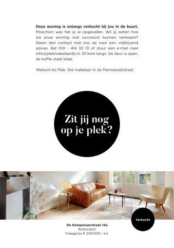 PLEK Makelaardij, met succes verkocht De Kempenaerstraat 14a (postcode 3038, Rotterdam)!