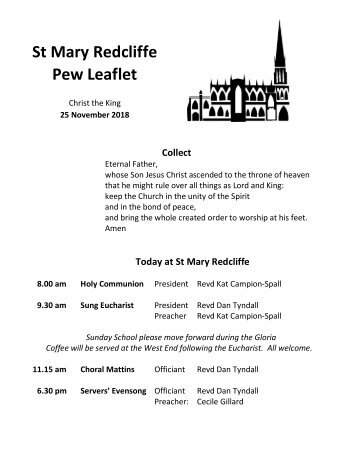 St Mary Redcliffe Pew Leaflet - November 25 2018