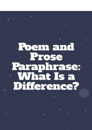 Poem And Prose Paraphrase: What Is A Difference?