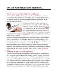 Top Auto Car Loans Redding CA | 530-395-5721