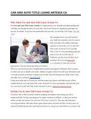 Get Auto Car Title Loans Artesia CA | 562-526-1570