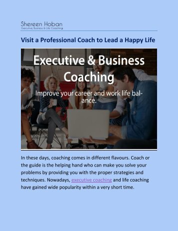 Visit a Professional Coach to Lead a Happy Life