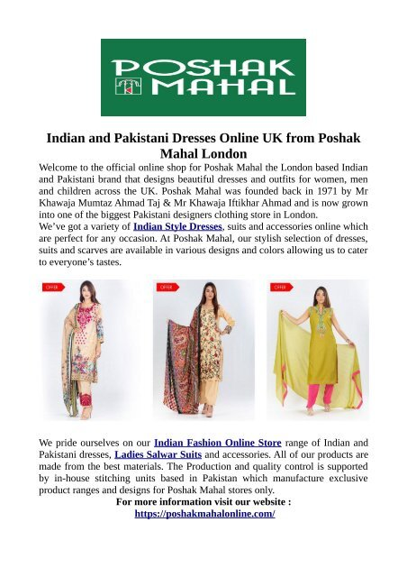 Indian And Pakistani Dresses Online Uk From Poshak Mahal London
