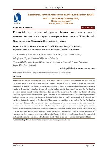 Potential utilization of guava leaves and neem seeds extraction waste as organic compost fertilizer in Temulawak (Curcuma xanthorrhiza Roxb.) cultivation