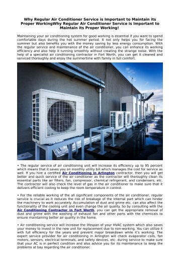 Why Regular Air Conditioner Service is Important to Maintain its Proper Working