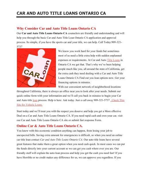Get Auto Car Title Loans Ontario CA  909-321-5737