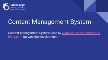 CairoCorps Consulting - CMS Used by the Website Design Company in Bangalore