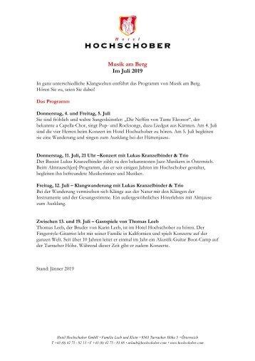 Hochschober Programm Musik am Berg 2019