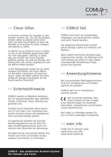 das praktische Arretier-System für Fenster und ... - Metall Baur GmbH
