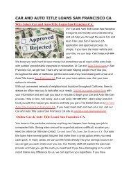 Get Auto Title Loans San Francisco CA | 415-688-2967