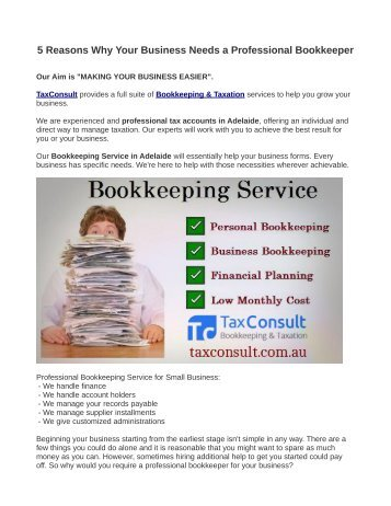 5 Reasons Why Your Business Needs a Professional Bookkeeper