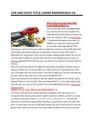 Get Auto Title Loans Bakersfield CA | 805-307-7074