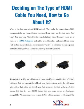 Deciding on The Type of HDMI Cable You Need, How to Go About It?