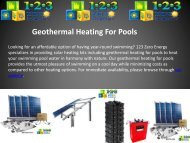 Best Affordable Geothermal Heating For Pools