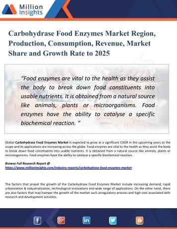 Carbohydrase Food Enzymes Market Key Players, Industry Overview, Supply and Consumption Demand Analysis to 2025