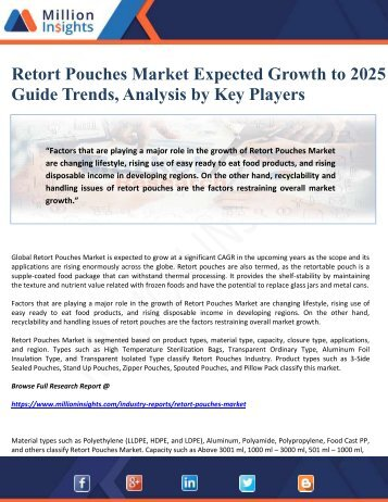 Retort Pouches Market Expected Growth to 2025 to Guide Trends, Analysis by Key Players