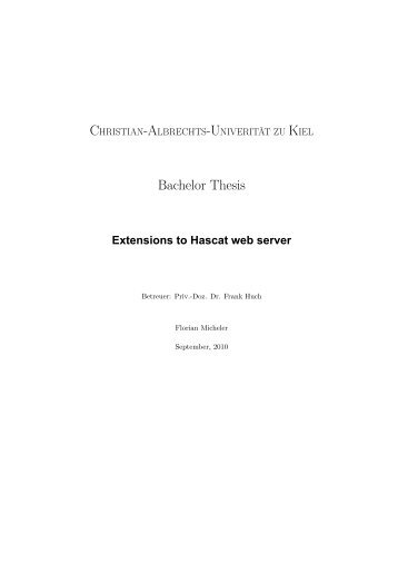 Extensions to Hascat web server - Christian-Albrechts-Universität zu ...