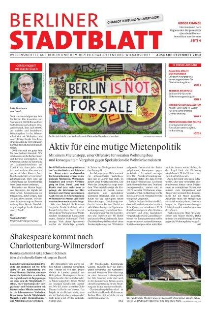 Berliner Stadtblatt Charlottenburg-Wilmersdorf Ausgabe Dezember 2018