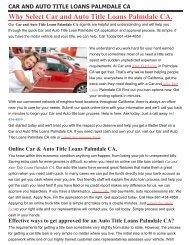 Get Auto Car Title Loans Palmdale CA| 661-434-4859