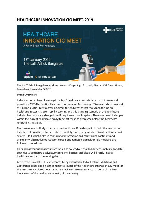 Healthcare Innovation CIO Meet -2019