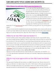 Get Auto Title Loans San Jacinto CA | 951-474-0011