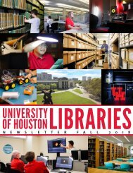 UH Libraries Newsletter Fall 2018