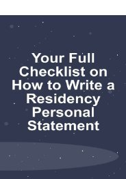 Your Full Checklist On How To Write a Residency Personal Statement