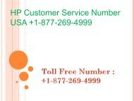 HP Customer Service Number USA +1-877-269-4999