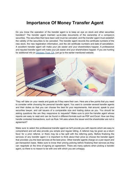 Importance Of Money Transfer Agent