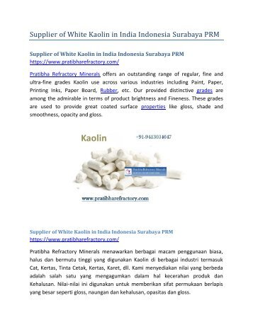 Supplier of White Kaolin in India Indonesia Surabaya PRM