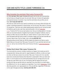 Get Auto Car Title Loans Torrance CA | 424-306-1531